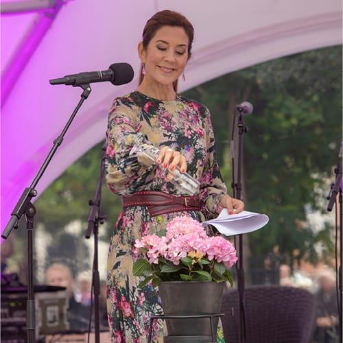 Kronprinsesse Mary der vander en pink Hortensia